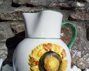 White with Sunflower. Vintage Jug