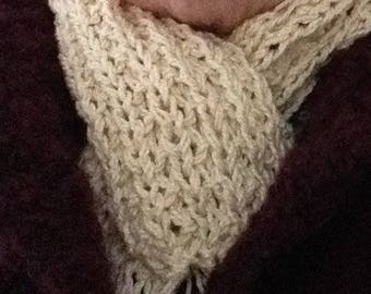 Hand knitted neck warmer, scarf, silk/cotton, FREE p&p