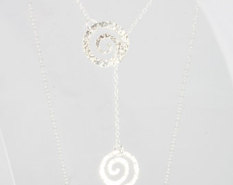 Silver Y necklace with two swirls