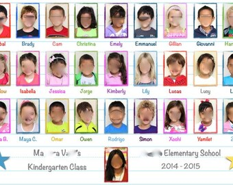 Custom Class Group Photo Placemat - Lined Paper; School Paper Pattern  • Deskpad • Laminated Wall Print, Poster • Photo Collage • Classroom