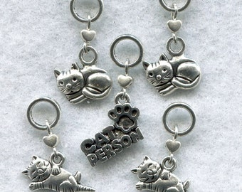 Cat Knitting Stitch Markers Cat Person Kitten Kitty Love My Cat Set of 5/SM147