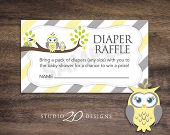 Instant Download Yellow Owl Diaper Raffle Cards, Yellow Grey Owl Baby Shower Diaper Raffle, Gender Neutral Baby Shower Diaper Raffle 23G