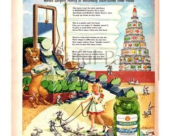 1949 Monarch Foods Vintage Ad, Advertising Art, Vintage Illustration, Pickles, 1940's Canned Goods, Felix Palm Illustrator, Great to Frame.