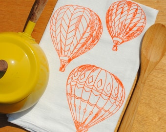 Orange Hot Air Balloons Tea Towel - Hand Screen Printed - Flour Sack Cotton - Absorbent Towel for Dishes - Bridal Shower Gift - Wedding Gift