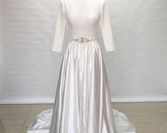 Custom Backless Ivory Satin Long Wedding Dress with Long Sleeves
