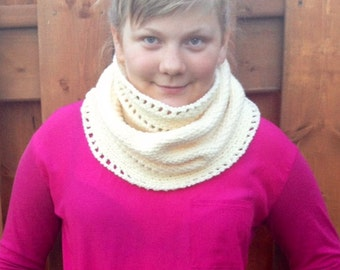 Crocheted  Cozy Cowl in Ivory, Photo Prop Hat Scarf Shawl Fall Winter