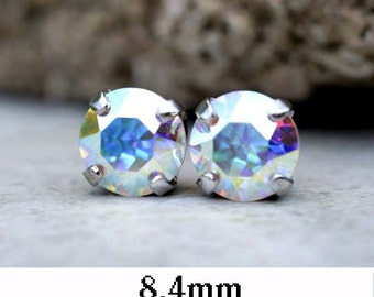 8.4mm, Aurore Boreale, Xirius Set Stud Earrings, Rhinestone Studs, Aurore Boreale Studs, Handmade Studs
