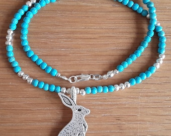 Turquoise and silver Hare/Rabbit pendant beaded necklace, December birthday.