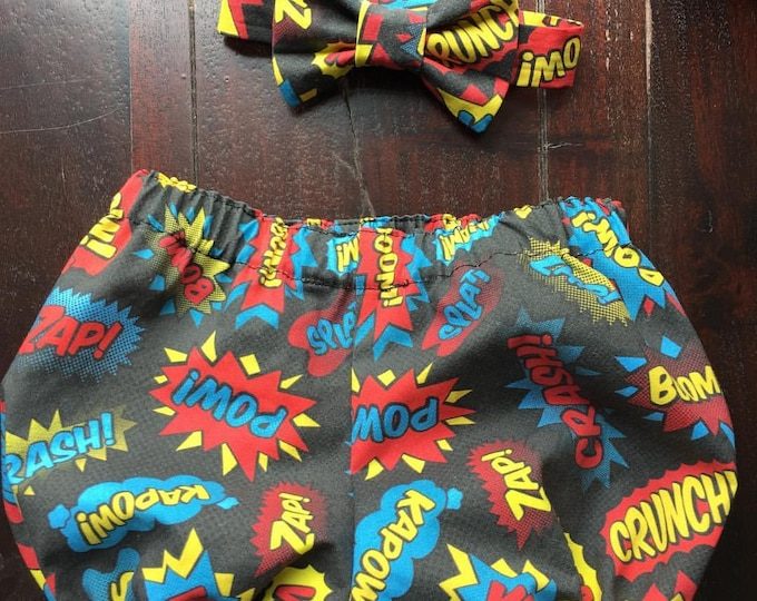Super Hero Words Cake Smash Set. Set includes; Bow tie  and Diaper Cover handmade by TwoLCreations