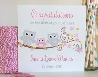 Personalised New Baby Girl Card with Pink Owl, Congratulations Card, New Daughter (LB033)