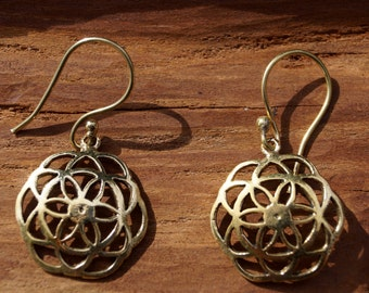 Curved Seed of Life Earrings Brass, Seed of Life Earrings, Tiny Seed of Life