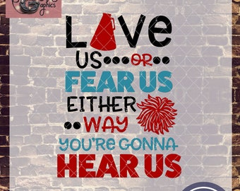 Love Us Fear Us Cheer with SVG, DXF, PNG, Eps Commercial & Personal Use