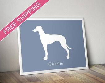 Personalized Greyhound Silhouette Print with Custom Name - greyhound art, greyhound gift, dog poster