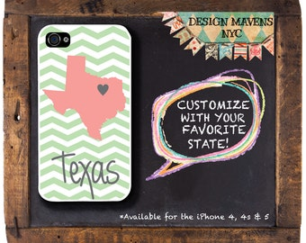 Texas Personalized iPhone Case, State Love iPhone Case, iPhone 7, 7 Plus, iPhone 6, 6s, 6 Plus, SE, iPhone 5, 5s, 5c, 4, 4s