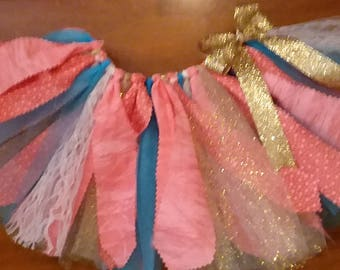 Coral, Turquoise, and Gold Scrap Fabric Tutu