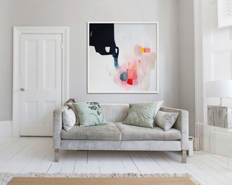"abstract print, large giclée print, white, black, pink, ""Aperture of Distinction 7"""