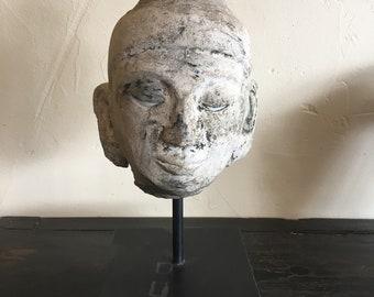 Haripunjay Stucco Head of Buddha, Circa 1300 AD