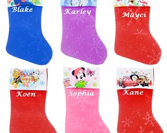 Monogrammed Christmas Stocking, Personalized Christmas Stocking, Character Christmas Stockings, Disney Stockings, Family Christmas Stockings