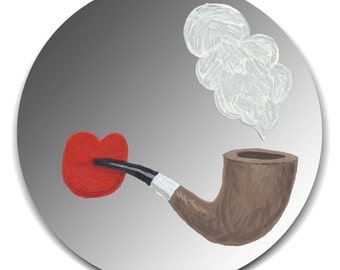 Handpainted mirror - Red Lips Smoking Pipe