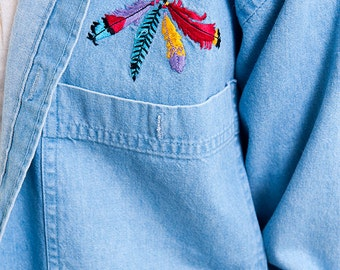 The Vintage Four Feathers Embroidered Vintage Denim Shirt
