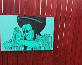 Akira Teal Acrylic Painting 2'x3'