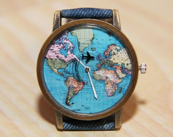 Earth watch etsy wristwatches with aircraft watches world map watches earth globe travelers watch jeans gumiabroncs Image collections