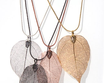 Real leaf necklace with an 80 cm snake chain.  Made from a real Australian leaf