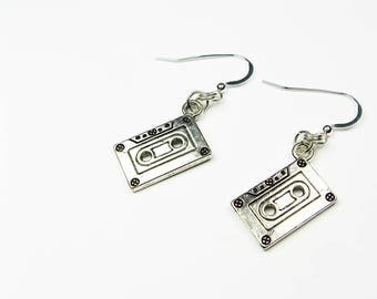 Tape Cassette Jewelry - Music Earrings - Old School Nostalgia from the 1980s Decade for Music Lover Gift