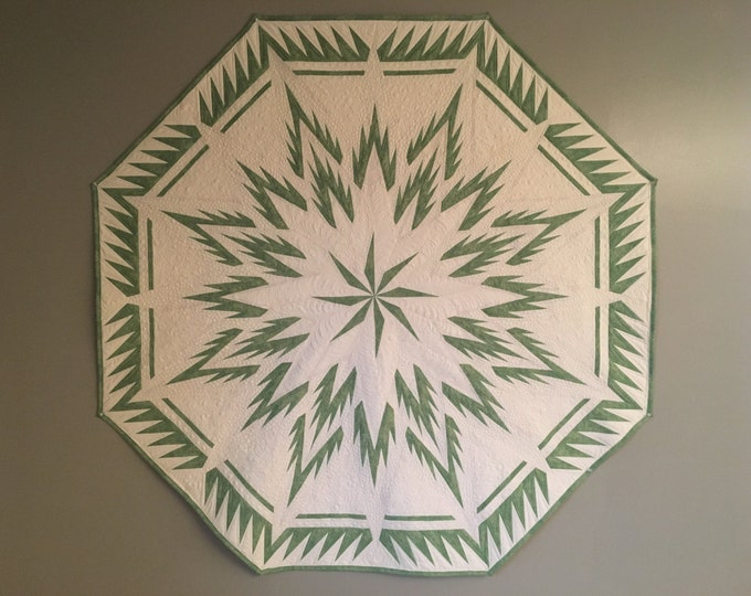 Feathered Snowflake Quilt, Table Topper, Centerpiece, Wall Art