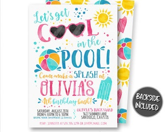 Pool Party Invitation, Summer Party Invitation, Watercolor Pool Invitation, Birthday Invitation, Party, Digital, Printables, Personalized