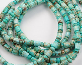 Turquoise Barrel and Rondelle Beads 10x8mm - One 16 Inch Strand