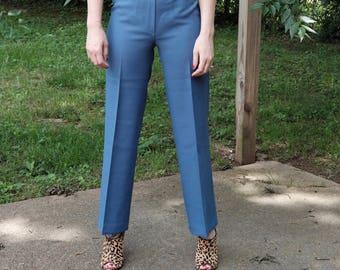 Vintage blue polyester slacks/pants/xs/small