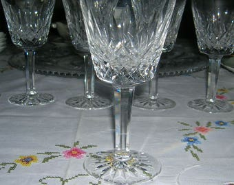 Waterford Crystal Claret Wine Glass Lismore Pattern Signed