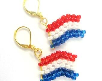 Earrings (G) - flag of Netherlands from Miyuki - glass beads - WM / EM - Fanartikel (BS-1185)