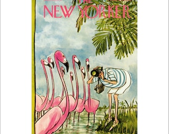 "Vintage The New Yorker Magazine Cover Poster Print Art, Saxon, 1972 Matted to 11"" x 14"", Item 001, Pink Flamingos"