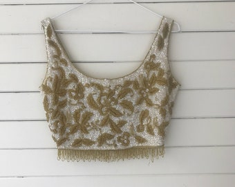 Vintage !960's Hand Beaded Cropped Mod Top