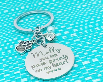 Pet Memorial Keychain, You Left Paw Prints On My Heart, Dog Memorial, Pet Remembrance, Angel Wings, One Of A Kind Gift, Rainbow Bridge, RIP