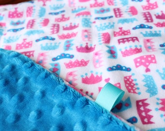 Minky Lovey Security Blanket Princess Crown Print Minky with Hot Pink, Turquoise or Peacock Dimple Dot Minky Backing - great for a new baby