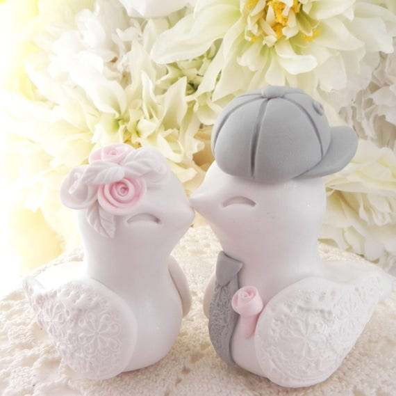 Love Birds Wedding Cake Topper, White, Blush Pink and Gray,  Backwards Baseball Cap, Trucker Hat, Bride and Groom Keepsake, Fully Custom