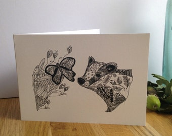 Badger ink giclee greetings card