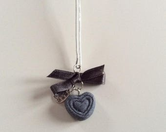 Gray satin bow and Heart Necklace