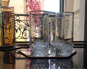 4 French cut crystal highball Drinking glasses with gold rims