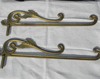 "Swing Arm Curtain Rods ~ Pair ~ Room Dividers ~ Art Nouveau ~ 16"" ~ Crane Drapery Rods"