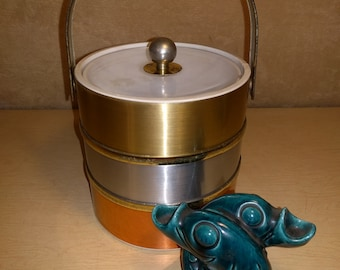 Vintage~Metal~Mid Century~Ice Bucket w/ Lid~Handle~3 tone~Modern~MCM~Hollywood Regency~1960s~Barware~Serving~Gold~Silver