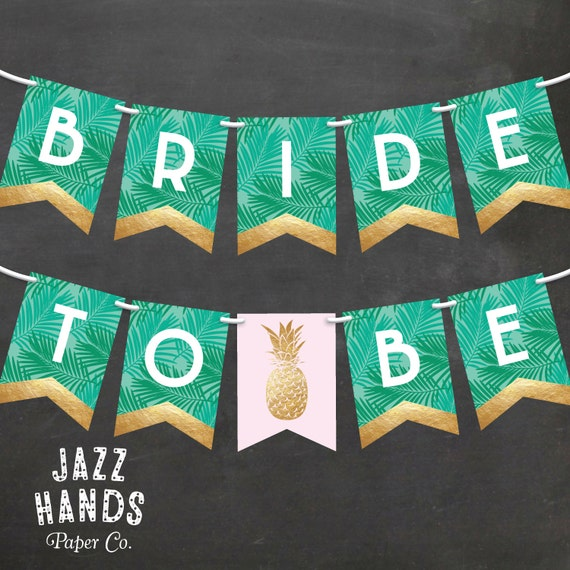 Diy Wedding Word Banners: Tropical Bridal Shower Banner DIY Printable Pineapple