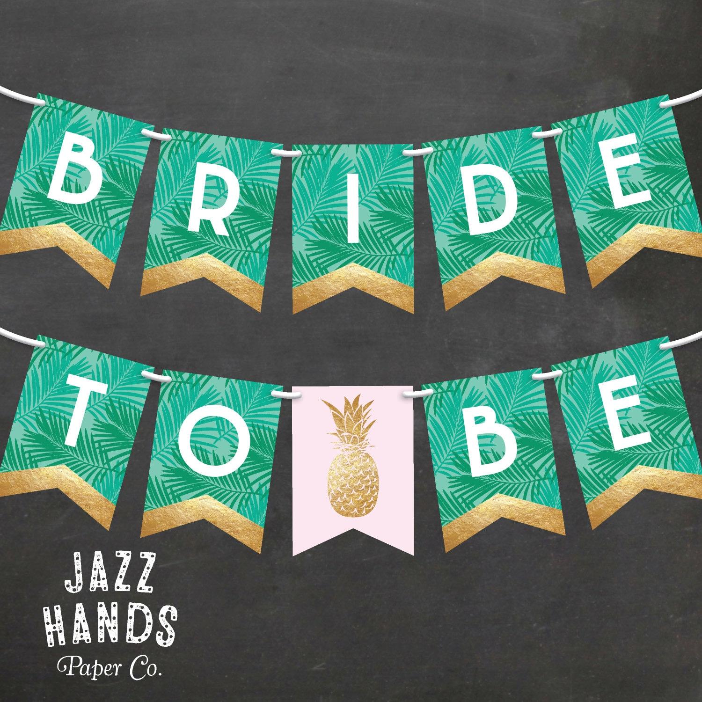 Wonderful Tropical Bridal Shower Banner DIY Printable Pineapple SU61
