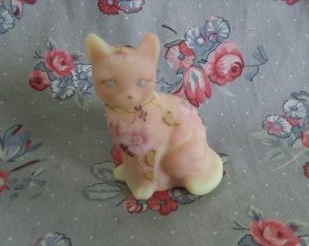 Vintage Fenton Burmese Glass Hand Painted Cat Figurine