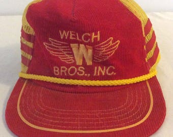 Vintage Welch Brothers Inc. SnapBack Hat Red Corduroy Yellow Mesh Embroidered Logo