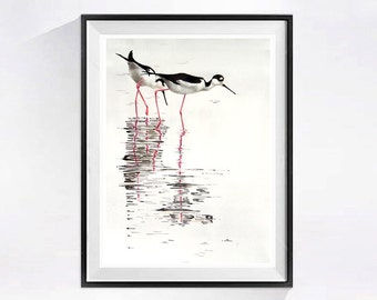 Shore Bird Art Print Painting Beach landscape Watercolor coastal bird Watercolour black and white wall art painting Sea shore art.