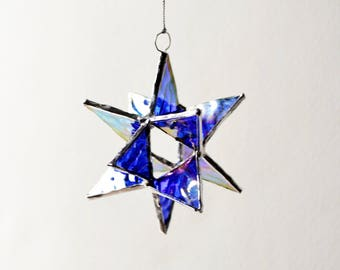 "12 Point Moravian Star. Cobalt Christmas Star. 3D Stained Glass Suncatcher. 3,5"" star."